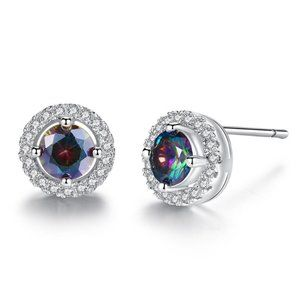 1 CT Round Rainbow Mystic Topaz Silver Earrings